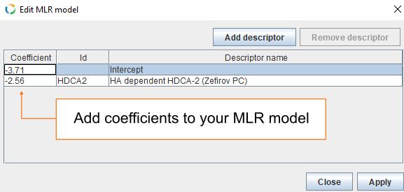 Add coefficients